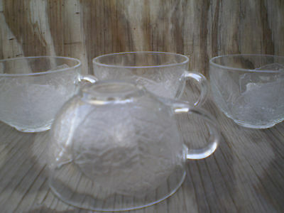 Arcopal France Dishes Aspen Leaf Clear Glass Cups Set Of 4 3