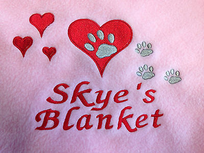 Personalised Embroidered Cat/ Kitten Fleece Pet Blanket Hearts & Paws gift 2