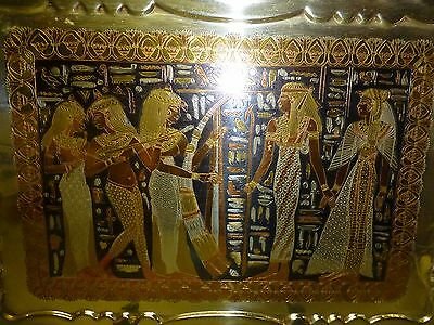 Antique Egyptian Storyline Ornately Engraved Silver, Brass, Copper, Pewter Tray 11