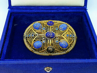 ANTIQUE Art Deco Egyptian Revival Czech Blue Glass Jewel Scarab Cabochon Brooch 2