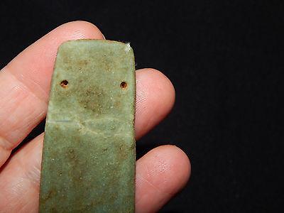 Pre-Columbian Ceremonial Jade Pendant, Authentic , Calcified Green Jade 4