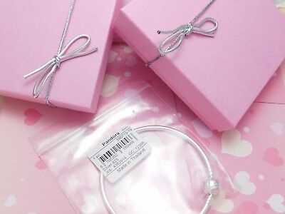 Authentic Pandora Silver Bangle Charm Bracelet Pink Love With European Charms. 5