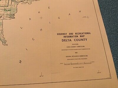 1974 East Part - Delta County Michigan  DNR Highway & Recreation Information Map 2