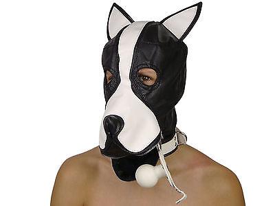 Petplay Hundemaske mit Knebel schwarz weiß Hunde Maske Hund Ledermaske ArNr.2777 5