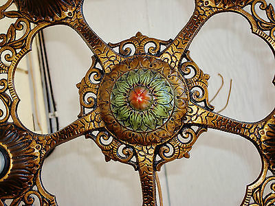 ORIGINAL 1930's VIRDEN Ceiling Light 5 Bulbs Art Nouveau Polychrome Chandelier 6