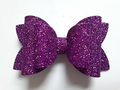 GIRLS SPARKLY GLITTER HAIR BOW ALLIGATOR CLIP GLITER FOAM