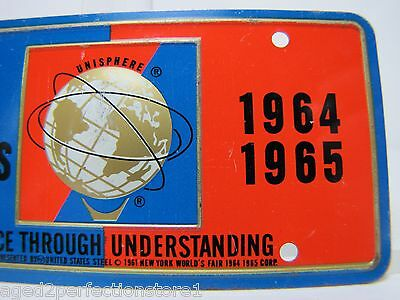 1964-65 New York World's Fair UNISPHERE Bicycle Lic Plate NYWF raised UniSphere 4
