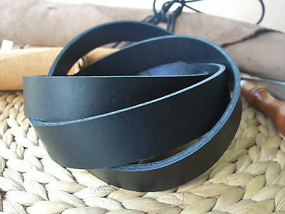 190cm EXTRA LONG BLACK 3.2 to 3.6mm THICK FULL GRAIN LEATHER STRAP ALL WIDTHS 2