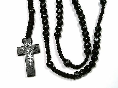 Rosary -black wood Prayer Beads - Crucifix Necklace 6