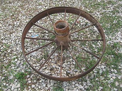 "2 pcs Vintage Rustic Iron Farm Implement Wheel Farm decor 31"" diameter 4"" thick 4"