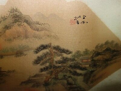 Rare Antique Chinese Fan Original Painting on Silk Fantastic Country Landscape 11