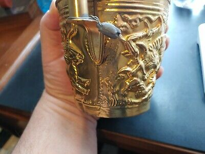 Rare Ancient Greek Mycenaean Art Replica Gold Bull Cretan Cup Hand Made Greece 3