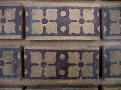 "Antique Victorian Gothic Minton Encaustic Floor Border Tile 6"" x 3"" RARE 1 of 36 3"