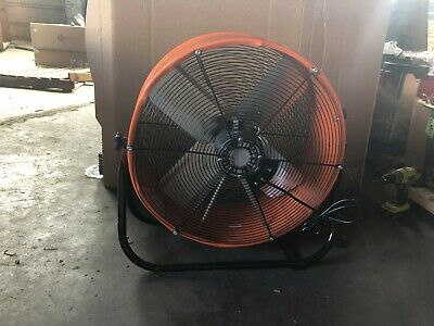 24 Inch Orange Direct Drive Industrial Grade Fan w/ 180 degree tilt 4