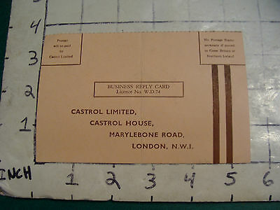 vintage reply card CASTROL LIMITED, LONDON.   creased a bit, 1962 not filled out