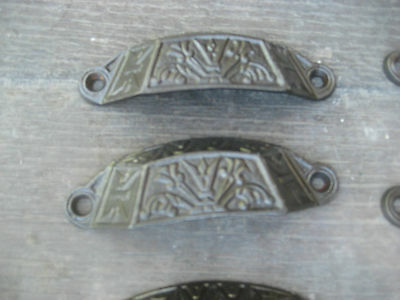 """c1880 LOT of 9 matching authentic VICTORIAN cabinet pull hardware 3.5"""" on holes 2"""