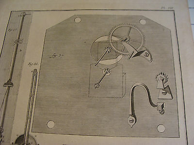 """Original engraving 1760's 10 1/2 x 16"""" THERMOMETRE ET CADRATURE DUNE PENDULE 2"""