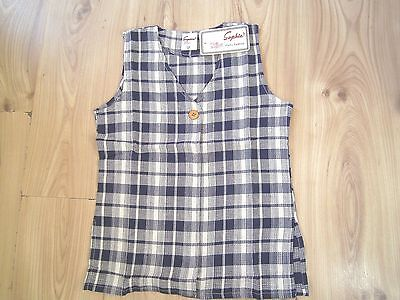 Kids Girl Sophia Blue/navy Check Linen Waistcoat Smock Top 10-14 Years,cotton 3