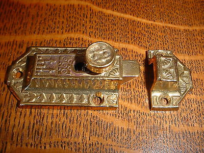 Ornate Victorian Style Cast Brass Cabinet/Cupboard Latch/Catch, slide style 2