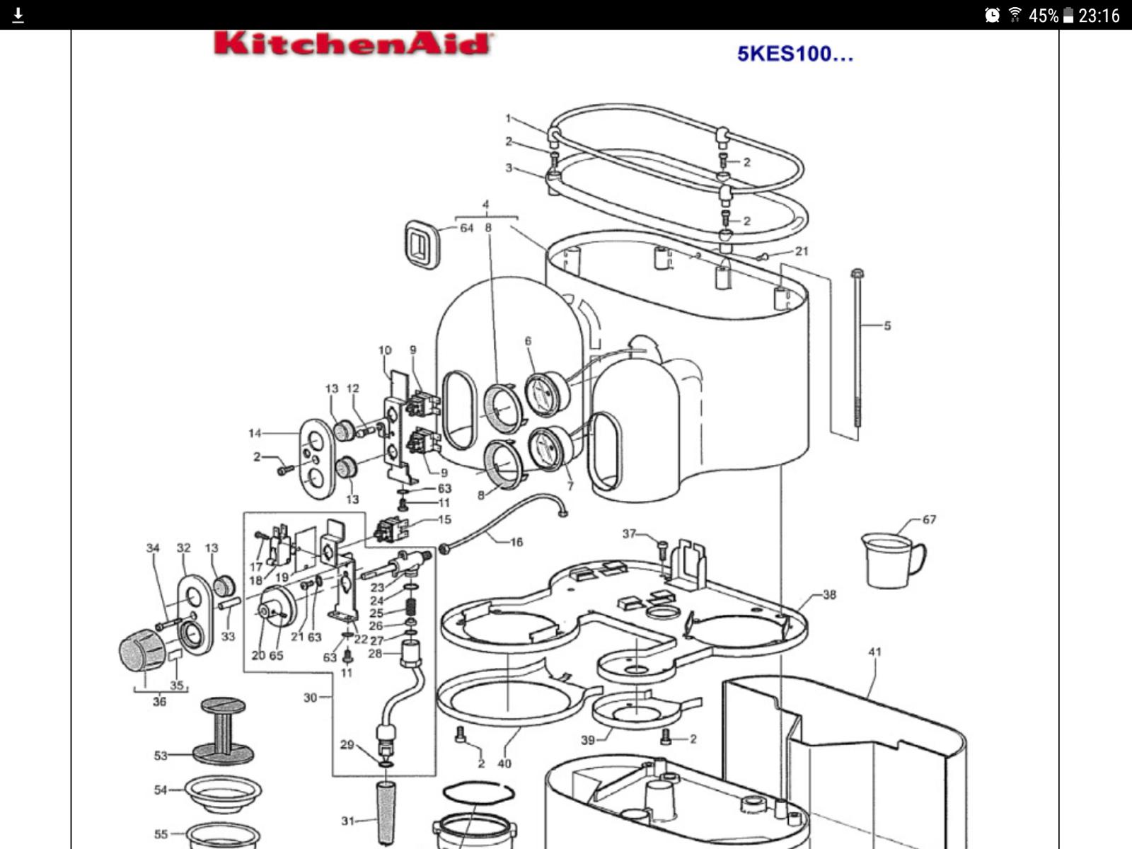 KitchenAid Artisan 5KES100 Coffee 16x O Ring Full Service kit + Group Gasket Opv 5