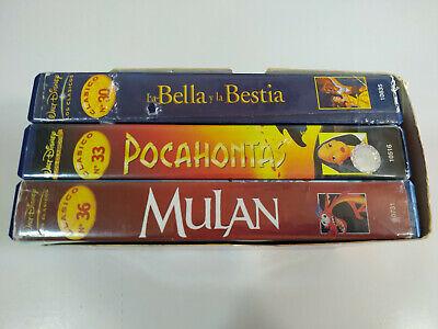 La Bella y la Bestia - Pocahontas - Mulan - Walt Disney - 3 x VHS Cinta Español 3