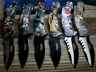 Print Handle Spring Assisted Pocket Knife Folding Tactical Open Serrate Blade 6