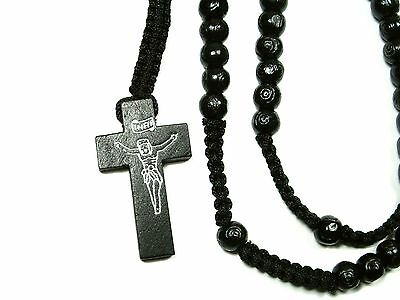 Rosary -black wood Prayer Beads - Crucifix Necklace 2