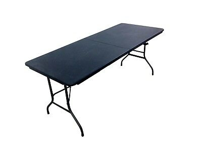 Heavy Duty Black 1.8M Folding Table 6Ft Foot Catering Camping Trestle Market Bbq 3