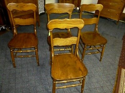 antique chair ash oak single refinished restored 1900's solid seat 5