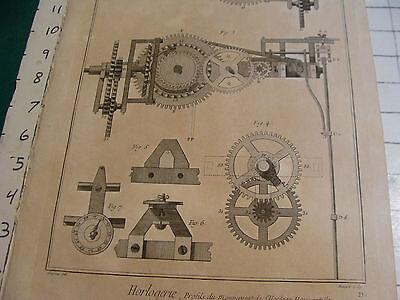 """Original engraving 1760's 10 1/2 x 16"""" Profils du mouvement de l'horloge horizon 3"""