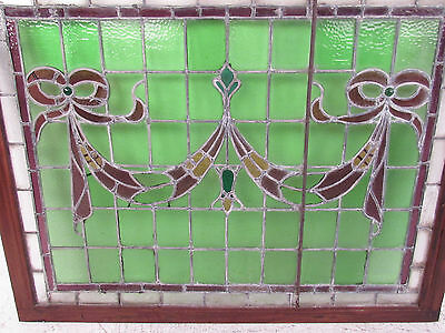 Vintage Stained Glass Ribbon Hanging Window (1265)NJ 3