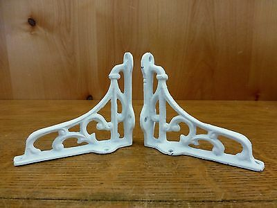 "2 SMALL WHITE ANTIQUE-STYLE 4"" CAST IRON SHELF BRACKETS garden rustic SCROLL 4"
