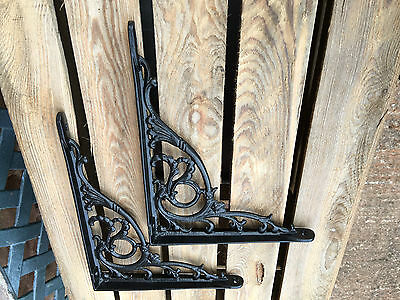 "Pair Black 10x8"" ANTIQUE HEAVY CAST IRON VICTORIAN SHELF WALL BRACKETS BR28bx2 4"