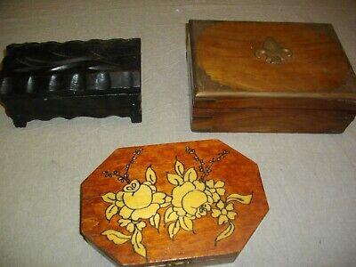 tres joyeros de madera y metal ( vintags) 21- 18 - 20 ctms largo 3