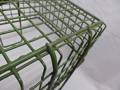 Vintage Small Kelly Green Coated Wire Basket With Handles Old Steampunk 3987-14 6