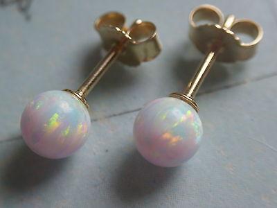 Opal blau Ohrstecker Kugeln 6 mm Gold 585 Ohrstecker Gold mit Opal Kugeln 6 mm