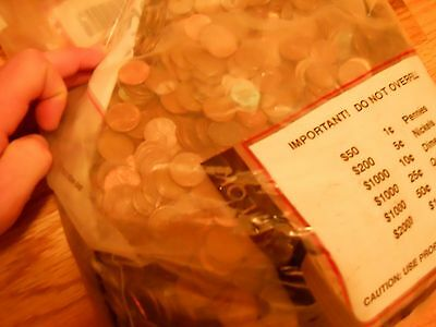 Completely Unsearched Sealed Bank Bag ($50 FV) US Copper Pennies Pre 1982 34 LBS 11