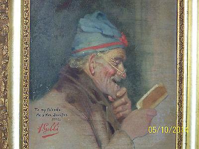 """Rare"" Alpenore Gobbi Antique Original Oil On Panel Side Portrait Painting 7"