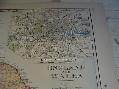 "Vintage Original 1898 Rand McNally Map: ENGLAND & WALES aprox 28 x 22"" VERY NICE 2"