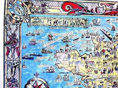 Map Of France Cartoon.Lovely Vintage Cartoon Map Of France Very Decorative Detailed 1936