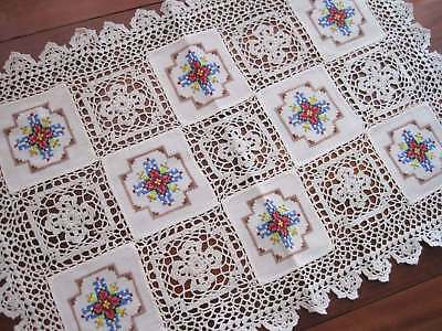 Hand Cross Stitch Embroidery Fine Yarn Crochet Lace Patch Cotton