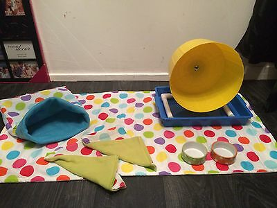 Double Trouble Deluxe hedgehog Starter Set,wheel,tray,bowls,bed,liner, Tunnels. 8