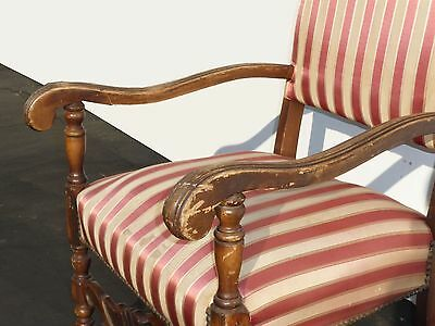 Antique Red & White Striped Silk Accent Arm Chair Floral Design Carved Wood 9