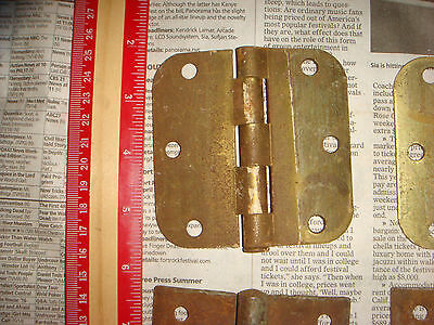 "4 Vintage Brass Plated Button Hinges 3 & 1/2"" , 2 pairs, Very Nice Old Hardware 4"