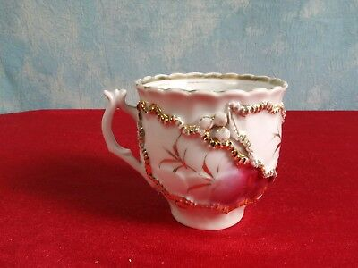 Victorian Mustache Style Cup Gold Raised Flowers Lace ANTIQUE 2