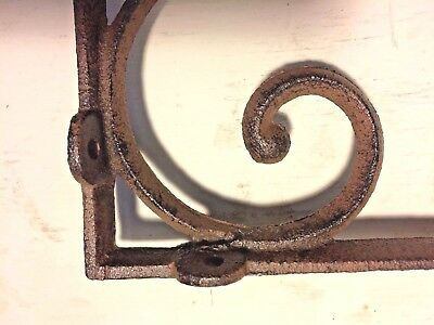 SET OF 4 LARGE RUSTIC  BROWN SCROLL BRACE/BRACKET vintage looking patina finish 8