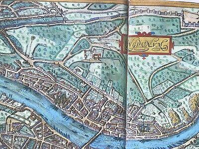 Old Antique Historic Map Lyon, France: 1572 Braun & Hogenberg REPRINT 1500's 3
