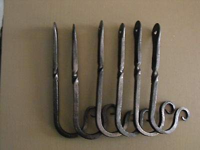 """smith forged wrought iron 5""""square old barn wall mount hooks w/twist set of 6 3"""
