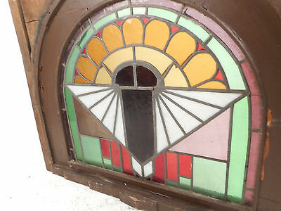 Unique Vintage Arched Stained Glass Window Panel (2828)NJ 4