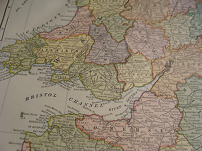 "Vintage Original 1898 Rand McNally Map: ENGLAND & WALES aprox 28 x 22"" VERY NICE 4"